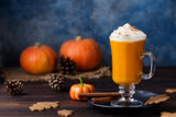 Pumpkin spice latte, smoothie, Boozy cocktail