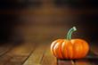 Orange pumpkin on dark wooden background