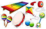 Sticker set of musical instrument and toys