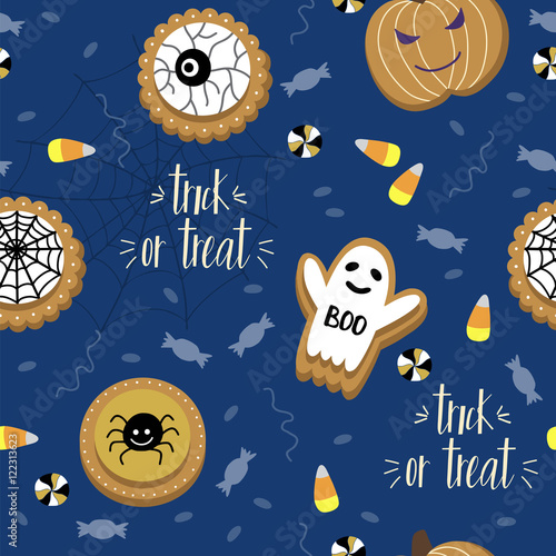 Cotton fabric Halloween seamless pattern with, ghost, cookies, candies, lettering and other. Template for textile, Party card, Greeting Scrapbooking, Congratulations, Invitations, Stickers.