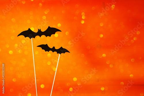 Halloween concept. Funny bats. Glitter overlay - 122322288