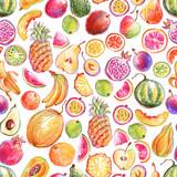 Seamless pattern with hand drawn bright stylish fruits