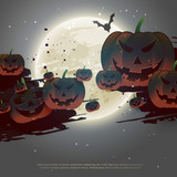 scary halloween background with flying pumpkins