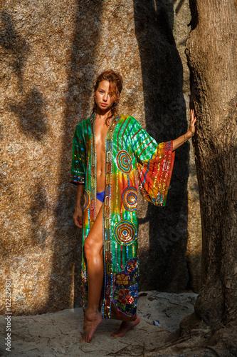 Plagát Attractive woman in summer clothes