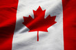 Closeup of Ruffled Canada Flag, Canada Flag Blowing in Wind
