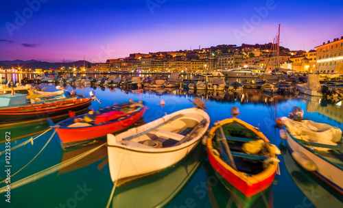 Deurstickers Toscane Portoferraio boats on the coastline of isola d'Elba, Elba island in Tuscany region, Italy.