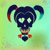 Drawing the face girl with pigtails. Vector hipster skull illustration in bright colors for girls. Suicide Squad. Harley Quinn.
