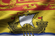 Closeup of Ruffled New Brunswick Flag, New Brunswick Flag Blowin