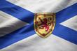 Closeup of Ruffled Nova Scotia Flag, Nova Scotia Flag Blowing in