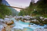 Brücke über den Soca Fluß, Sonnenaufgang Slowenien