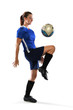Female Soccer Player Bouncing Ball