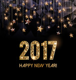 Fototapety Happy New Year 2017 card, Golden stars in the background