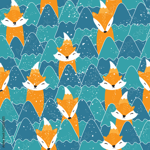 Cotton fabric Seamless pattern with different cute foxes
