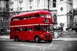 London's iconic double decker bus. - 122358644