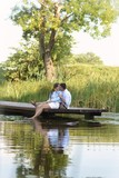 Romantic couple on pontoon