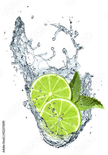Lemon slices and water splash