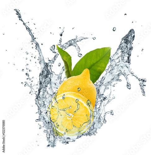 Poster Lemon, leaves and water splash