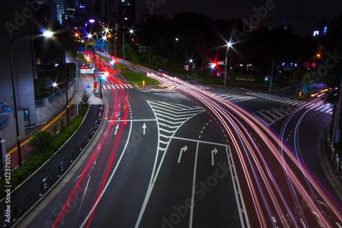 Foto op Aluminium Nacht snelweg City lights