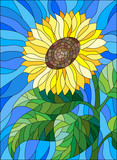 Naklejka Illustration in stained glass style flower sunflower on a blue background