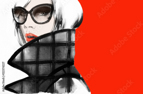 Fotobehang Anna I. woman portrait .abstract watercolor .fashion background