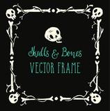 Spooky skulls and bones frame. Halloween hand-drawn decoration. Vector illustration.
