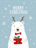 Merry Christmas! Hand drawn cute vector illustration white bear. Christmas greeting card. Polar bear and snow.