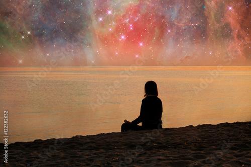Poster woman meditating