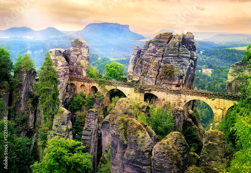 Bastei Bridge in Saxon Switzerland, Dresden, Germany
