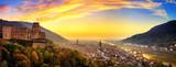 Fototapety Heidelberg kurz nach Sonnenuntergang, Panorama mit warmen Farben