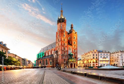 Zdjęcia na płótnie, fototapety na wymiar, obrazy na ścianę : Old city center view with Adam Mickiewicz monument and St. Mary'