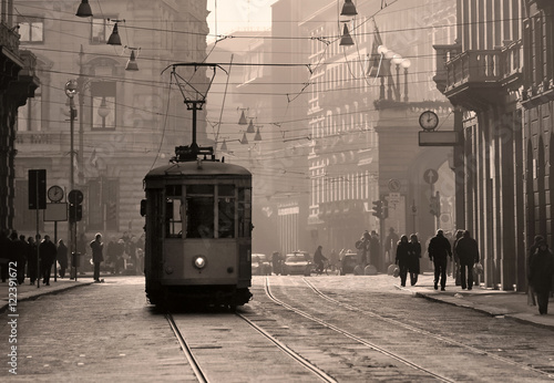 Juliste Historical tram in Milan old town, Italy