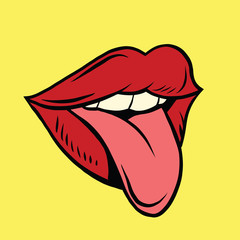 Red pop art mouth with tongue hanging out