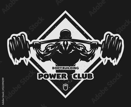 Bodybuilder with a barbell emblem.