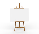 3D illustration ob blank canvas on a wooden easel