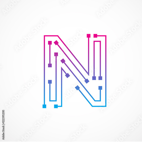 abstract letter n logo design template technology electronics