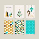 set of decorative christmas cards with front and back side