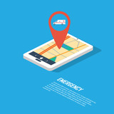 Emergency infographic template with location pin for gps. Smartphone technology in modern isometric flat design.