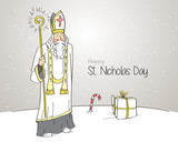 Slavic custom. Saint nicholas holding shining staff.
