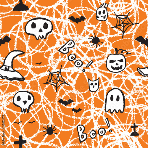 Materiał do szycia Halloween seamless pattern, Hand drawn decorative template.