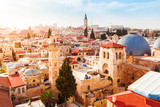 Fototapety Old City of Jerusalem with the aerial view. View of the Church of the Holy Sepulchre, Israel.