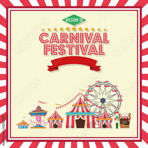 Ferris wheel carousel striped tents and stand. Carnival festival ...