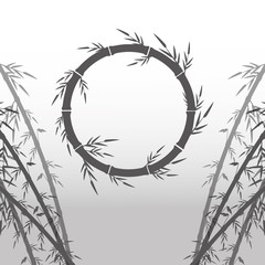 Circle of bamboo trunk with leaves icon. Nature plant decoration and asia theme. Silhouette design. Vector illustration