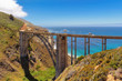 Bixby Creek Bridge on Highway #1 at the US West Coast traveling south to Los Angeles, California