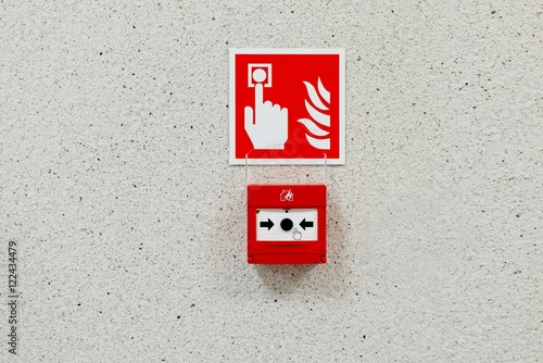 Poster Red fire alarm button