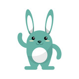 Rabbit cartoon icon. Animal kawaii and character theme. Isolated design. Vector illustration