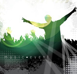 Concert, disco party. Music illustration. Vector
