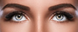Female face with beautiful eyebrows and artificial eyelashes