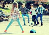 Kids playing street football