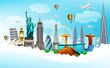 Travel the world monuments concept on blue sky background