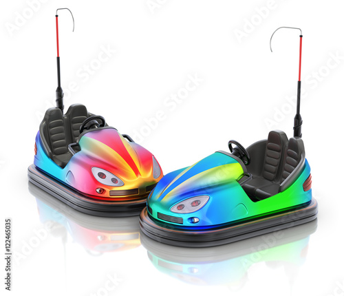 Keuken foto achterwand Amusementspark Pair of colorful electric bumper car over white reflective background